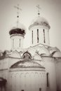 Church domes in trinity sergius lavra sergiev posad russia vintage style sepia photo unesco world heritage site Royalty Free Stock Photography