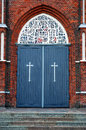 Church door blue wooden of a catholic Stock Image
