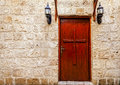 Church door a of a christian in akko acre israel Royalty Free Stock Photo