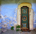 Church door colored wood of an old in a medieval city transylvania romania Stock Images