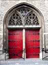 Church door red of the zuiderkerk in leiden the netherlands Stock Photo