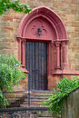 A church door in small city saarburg rheinland pfalz germany Stock Image