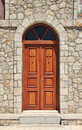 Church doors closed stone facade wooden double Stock Images