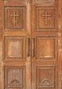 Church entrance - wooden doors Royalty Free Stock Photo