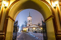 The church of the exaltation of the holy cross in altufevo winter russia moscow altufyevo Stock Photo