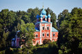 Church in forest in Russia Stock Photos