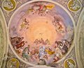 Church fresco with madonna, god and holy spirit Royalty Free Stock Photo