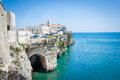 Church in front of adriatic sea in the Vieste Italy Royalty Free Stock Photo