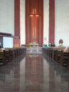 Church in gdansk zaspa on poland outdoor and indoor detail catholic religion place view of the altar of the Stock Photo