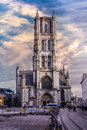 Church in gent belgium evening Royalty Free Stock Photography