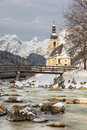 Church with German Alps in Ramsau, Bavaria Stock Photo