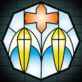 Church glass stained in a cathedral Royalty Free Stock Photo