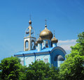 The church with gold domes orthodox Stock Photo