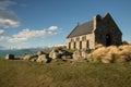 Church of the Good Shepherd & Lake Tekapo Royalty Free Stock Photo