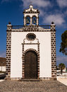 Church in guatiza lanzarote canary islands facade of the santa margarita chapel Royalty Free Stock Photos