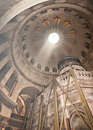 Church of the holy sepulchre in jerusalem rotunda skylight and tomb Royalty Free Stock Photo