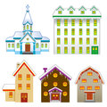 Church and house winter season vector illustration of Royalty Free Stock Photos