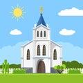 Church icon. Flat summer landscape. Royalty Free Stock Photo