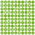 100 church icons hexagon green