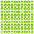 100 church icons set green circle