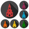 Church icons set with long shadow