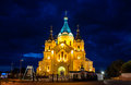 Church illuminated in the night Royalty Free Stock Photography