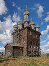 Church of intercession in the village rikasovo russia wooden virgin mary near arkhangelsk Stock Images