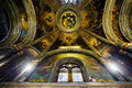 Church interior big dome and gold life design and paintings Royalty Free Stock Photo