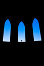 Church interior silhouette and cross Stock Photos