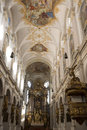 Church interior in st peter in munich organ s Stock Photography