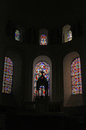 Church Interior with stained glass window. Royalty Free Stock Photo