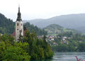 Church on island in the middle of Bled lake, Slovenia. Royalty Free Stock Photo