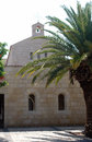 Church in israel stone with palm tree Stock Photos
