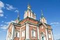 A church in the kolomna kremlin and sun glare sky clouds Stock Photos