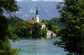 Church at lake bled slovenia on a island in the middle of the Stock Image