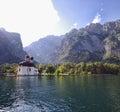 Church lake and mountain Stock Photography