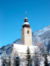 Church in lech autria at winter Royalty Free Stock Photos