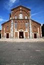 Church in the legnano brick tower sidewalk italy lombardy
