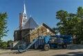Church lift telescopic handler in the backyard of a Royalty Free Stock Photos