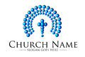 Church logo illustration drawing representing a Stock Photo