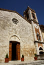 Church of madonna di vitaleta san quirico dorcia the facade the in tuscany italy the houses a attributed to Royalty Free Stock Photography
