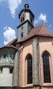 Church in marbach at summer time detail a town named am neckar southern germany the town is known as the birth place of the Royalty Free Stock Images