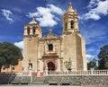 Church in mexico colonial countryside blue Stock Photos