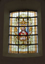 Church notre dame aux riches claires with image of jesus brussels belgium september stained glass window in Royalty Free Stock Photos