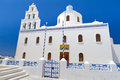 Church of Oia town on Santorini Stock Photo