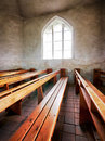 Church old benches inside of a Stock Photography