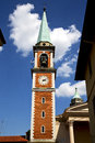Church olgiate olona window clock and bell tower italy the old wall terrace Stock Photography