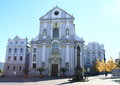 Church in opava catholic on square with statue city czech republic Royalty Free Stock Photos