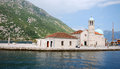Church our lady of the rocks montenegro kotor bay july panoramic view with tourists in famous island with in kotor bay Royalty Free Stock Image