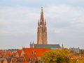 Church of Our Lady tower in Bruges Royalty Free Stock Photo